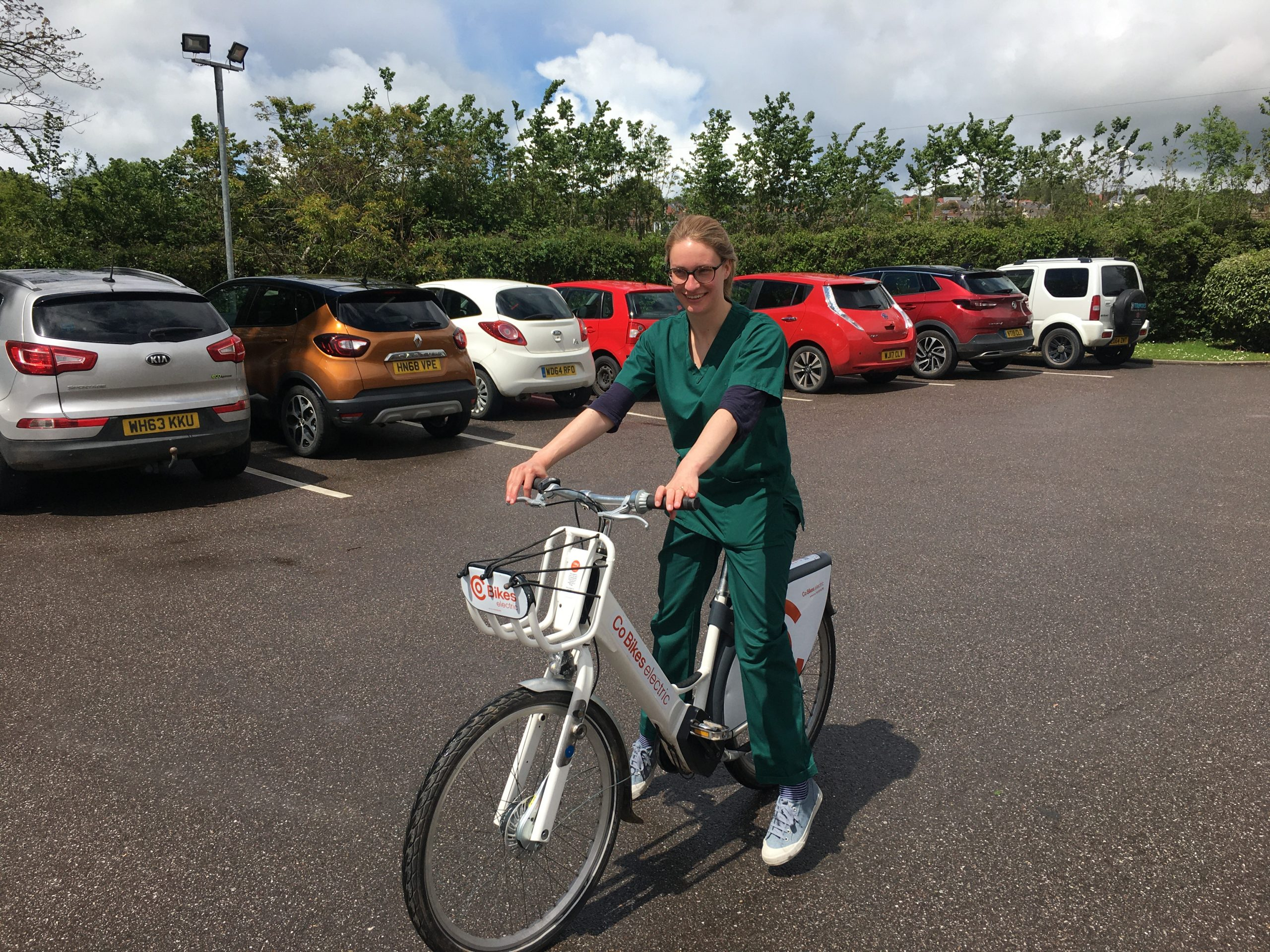 Dr Emily Hay on a Co Bikes